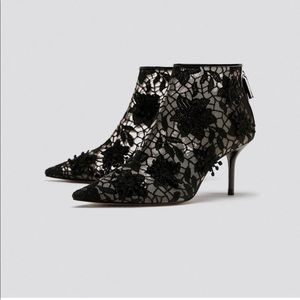 ZARA Lace High Heel Ankle Boots